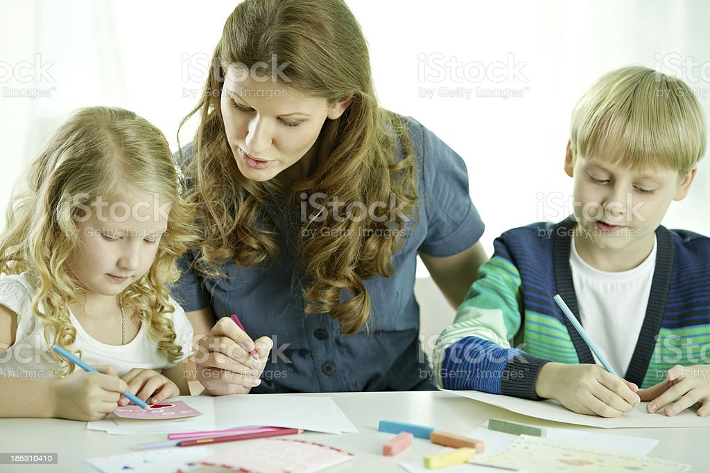 Drawing with mom royalty-free stock photo