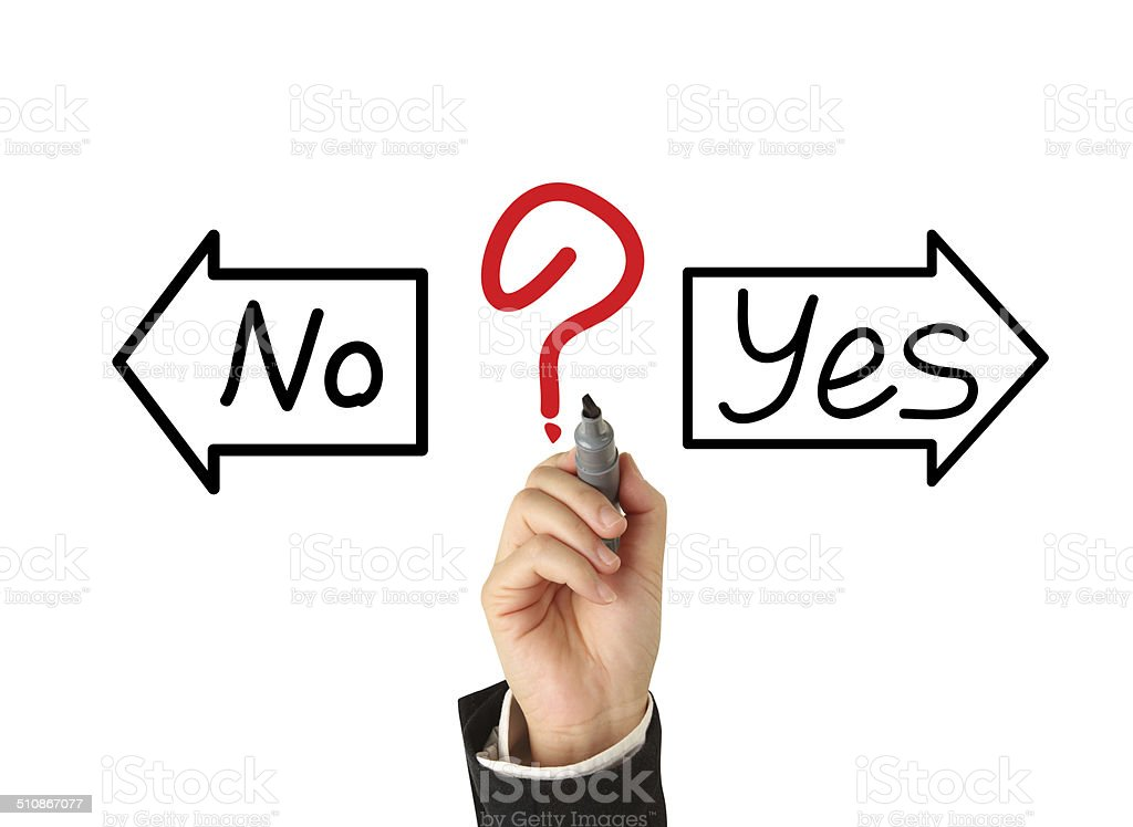 drawing with yes or no choice stock photo
