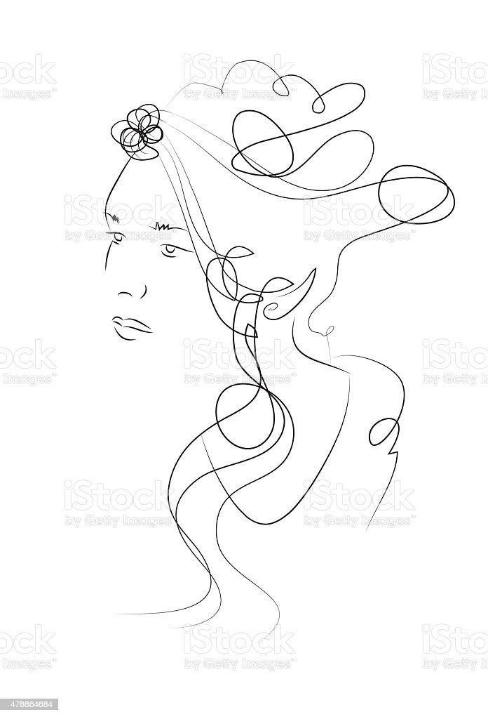 drawing woman stock photo
