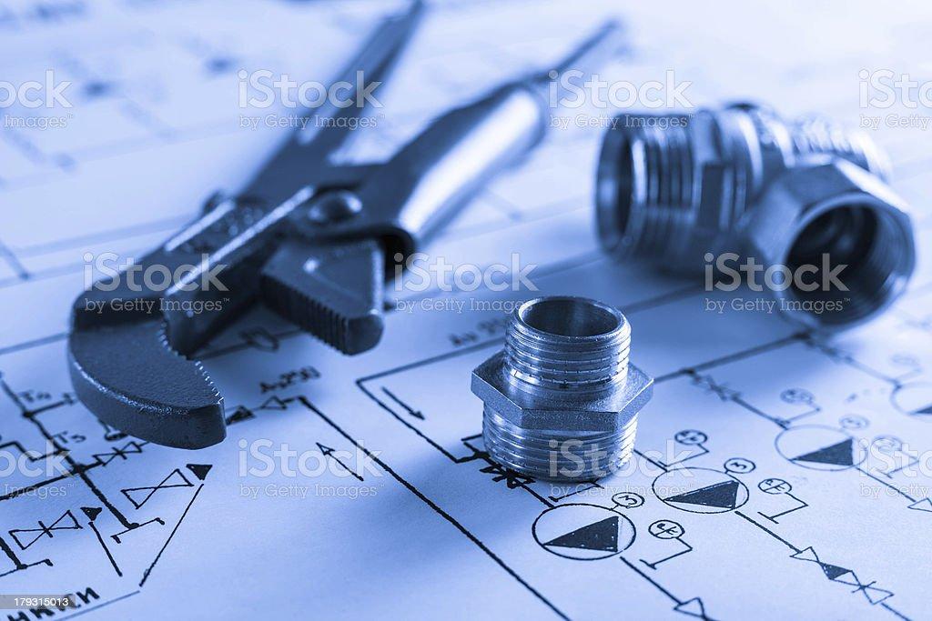 drawings and plumbings royalty-free stock photo