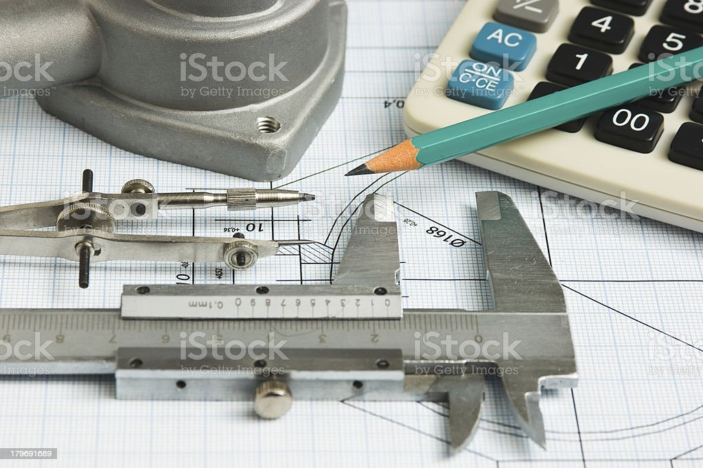drawings of mechanisms royalty-free stock photo