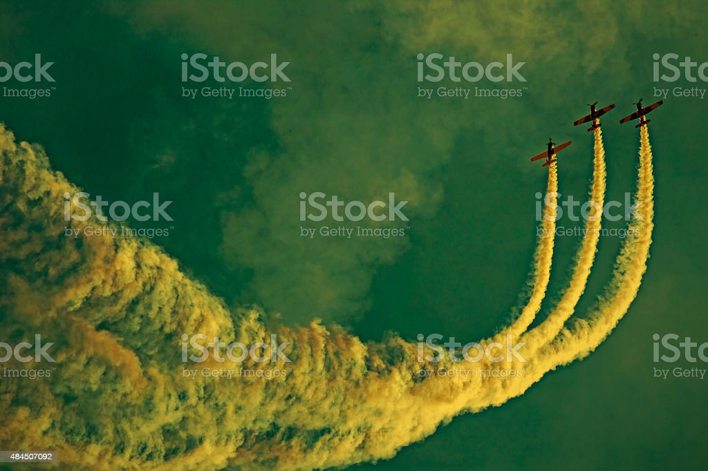 Drawings of smoke in the sky stock photo