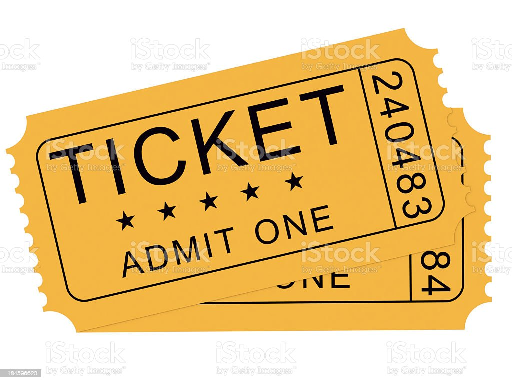 A drawings of two yellow tickets, used for admittance stock photo
