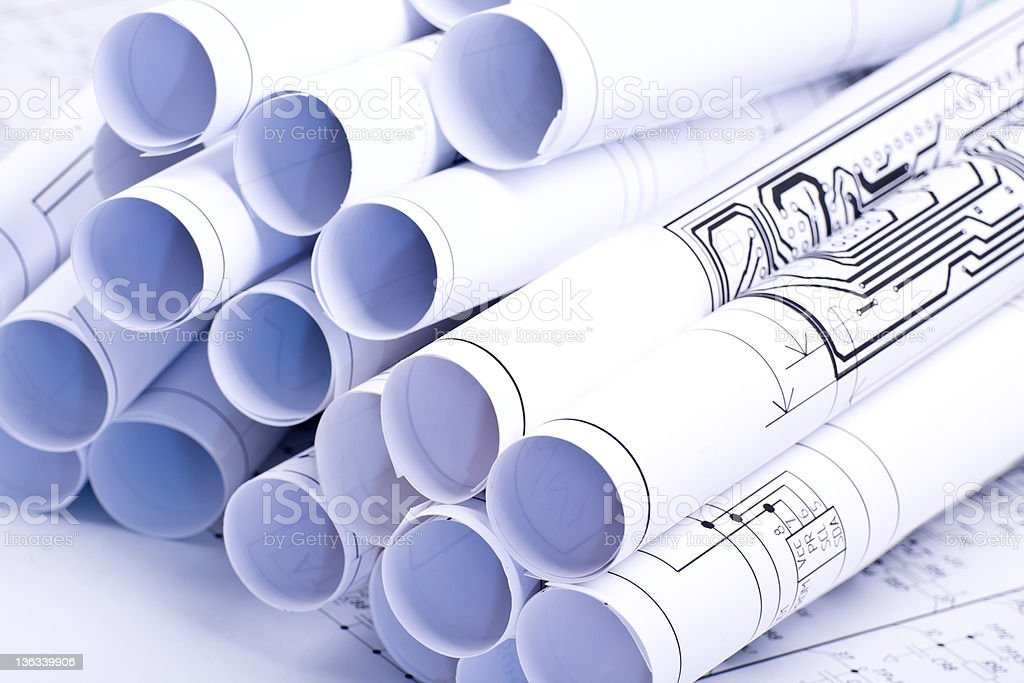 Drawings rolled in a tube royalty-free stock photo