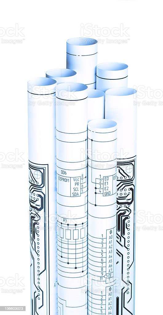 Drawings rolled in a tube stock photo