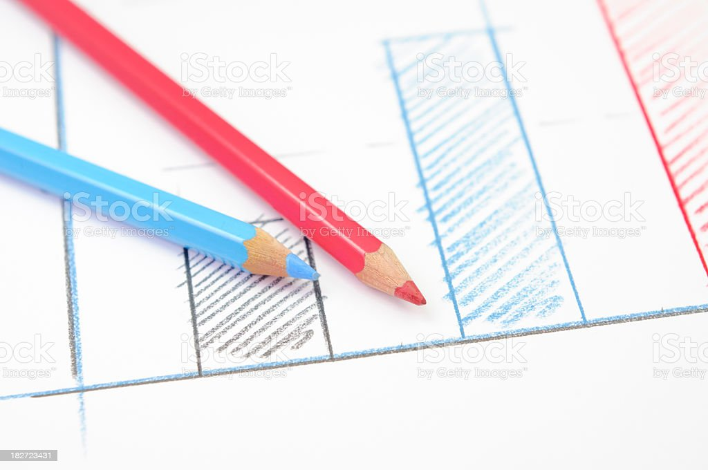 Drawn chart and pencils stock photo