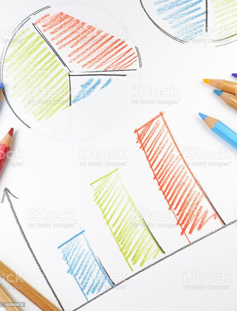 Drawn charts and pencils stock photo