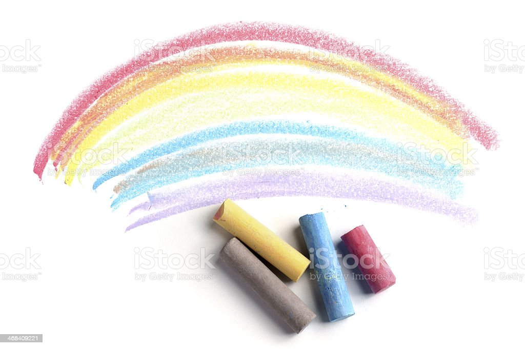 Drawn Curved Lines in Coloured Chalk stock photo