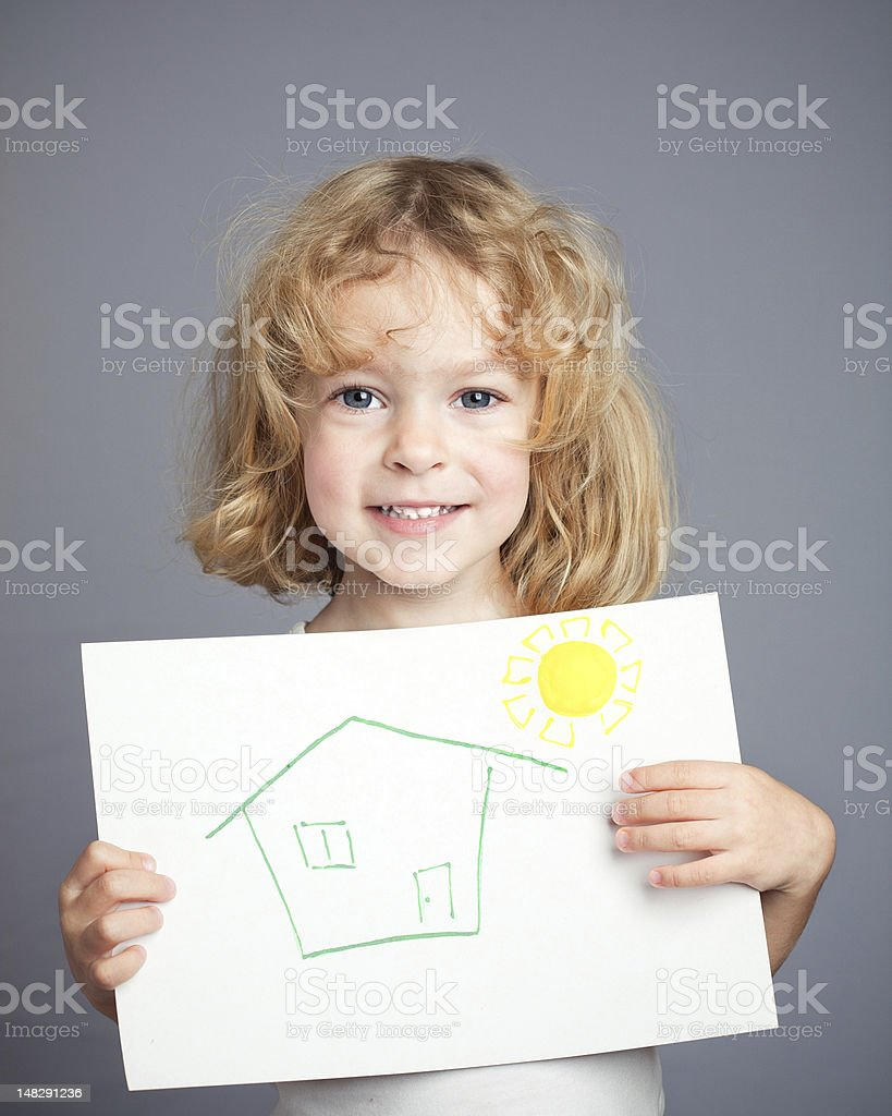 Drawn sun and house stock photo