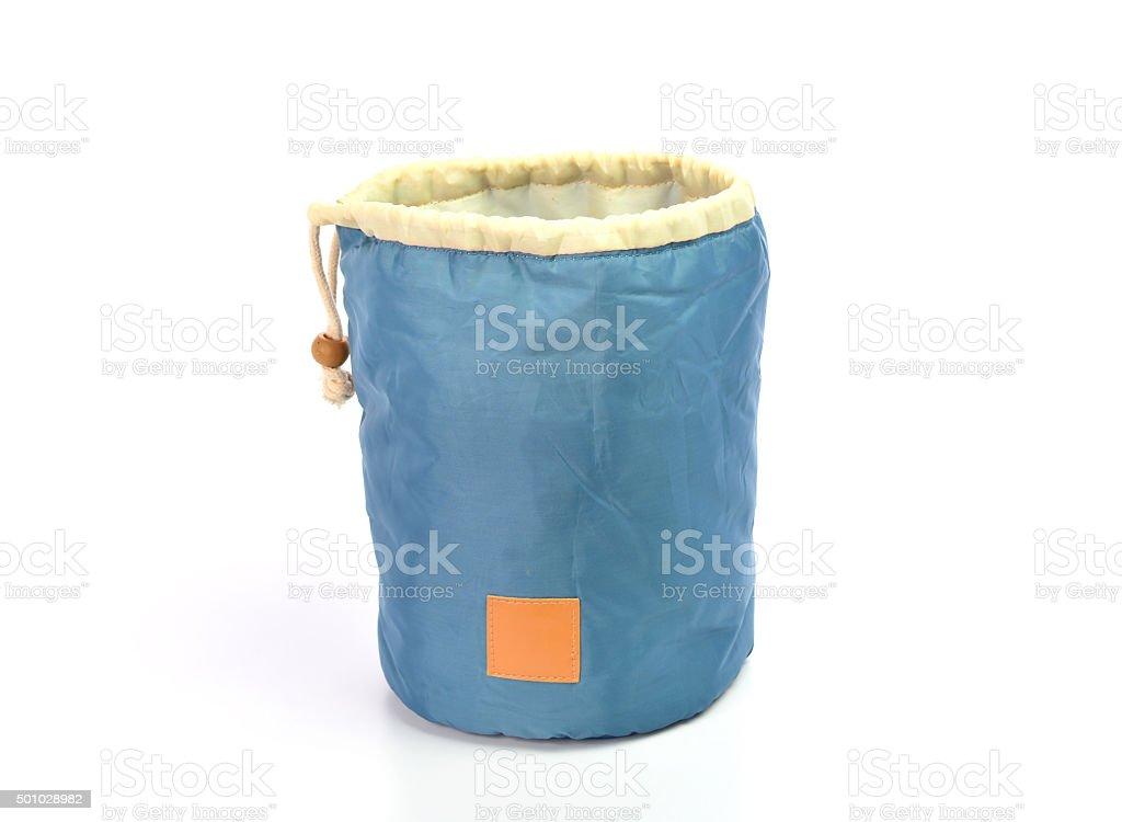 drawstring bag packaging on white background stock photo