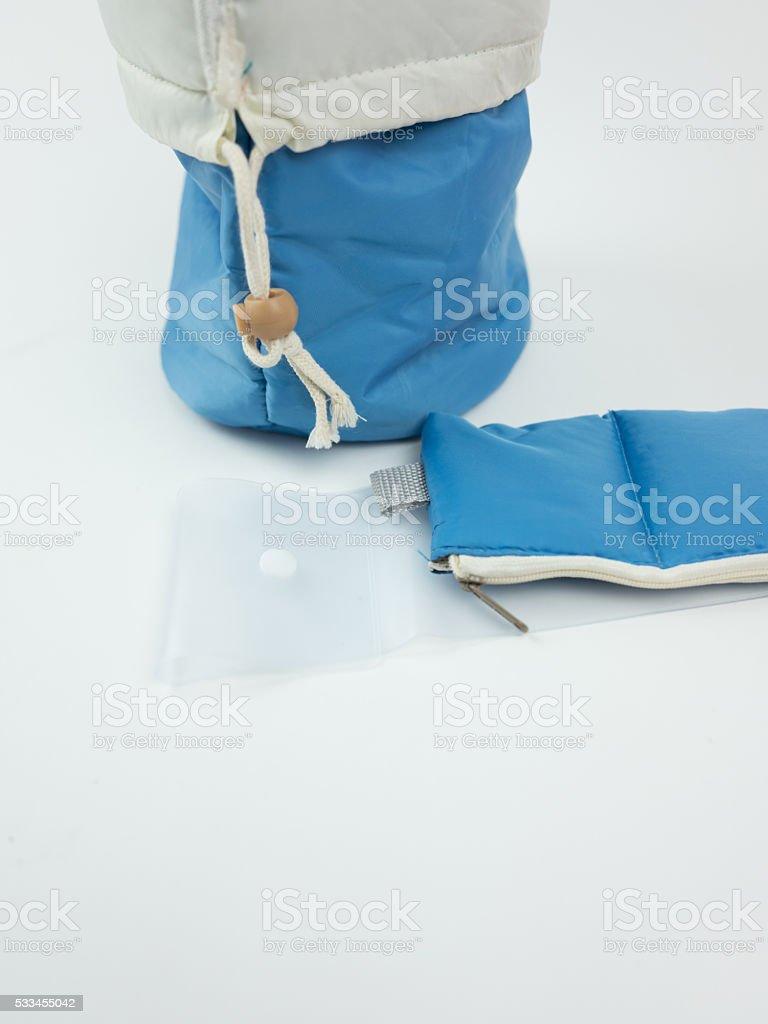 Drawstring toiletry bag stock photo