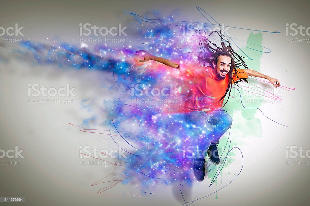 dreadlocks man bursting into color stock photo