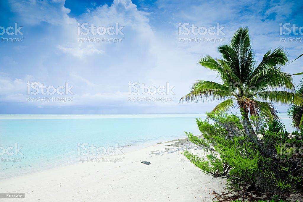 Dream Beach Aitutaki Cook Islands royalty-free stock photo