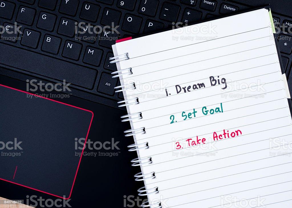 Dream Big, Set Goal, Take Action on laptop keyboard 1 stock photo