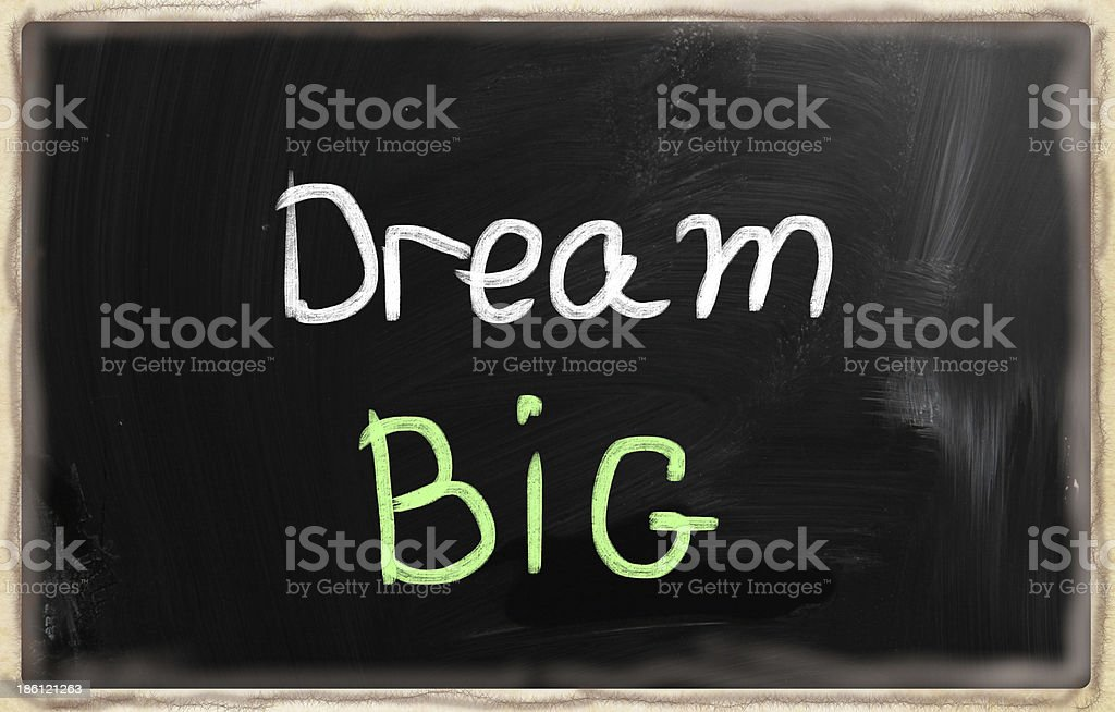 dream big words on blackboard royalty-free stock photo