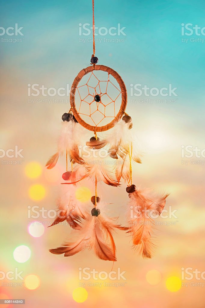 Dream catcher and abstract bokeh stock photo