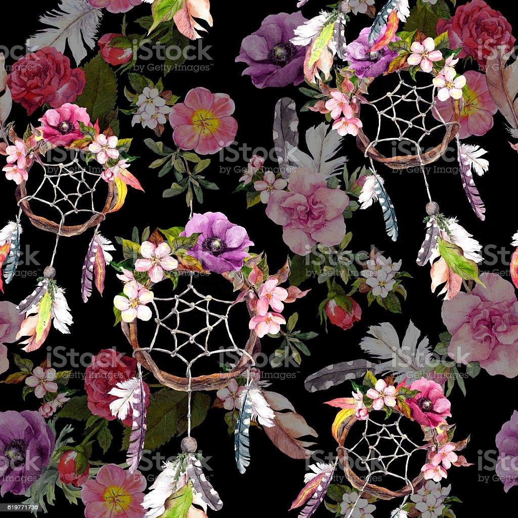 Dream catcher, flowers, feathers on black background. Seamless pattern. Watercolor stock photo