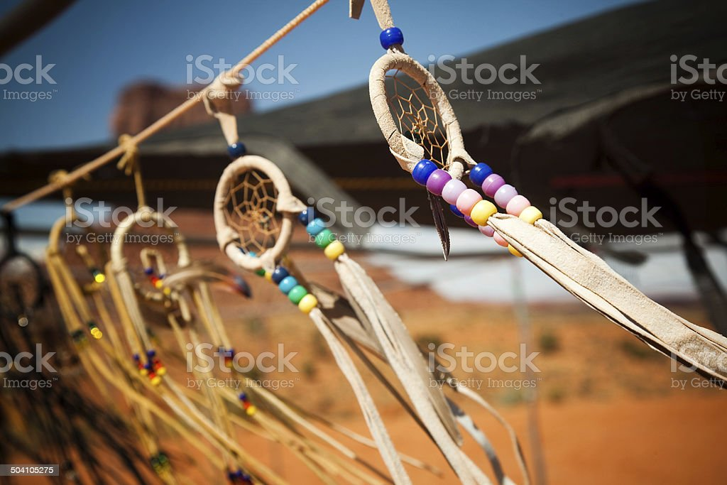 dream catchers against monument valley background stock photo