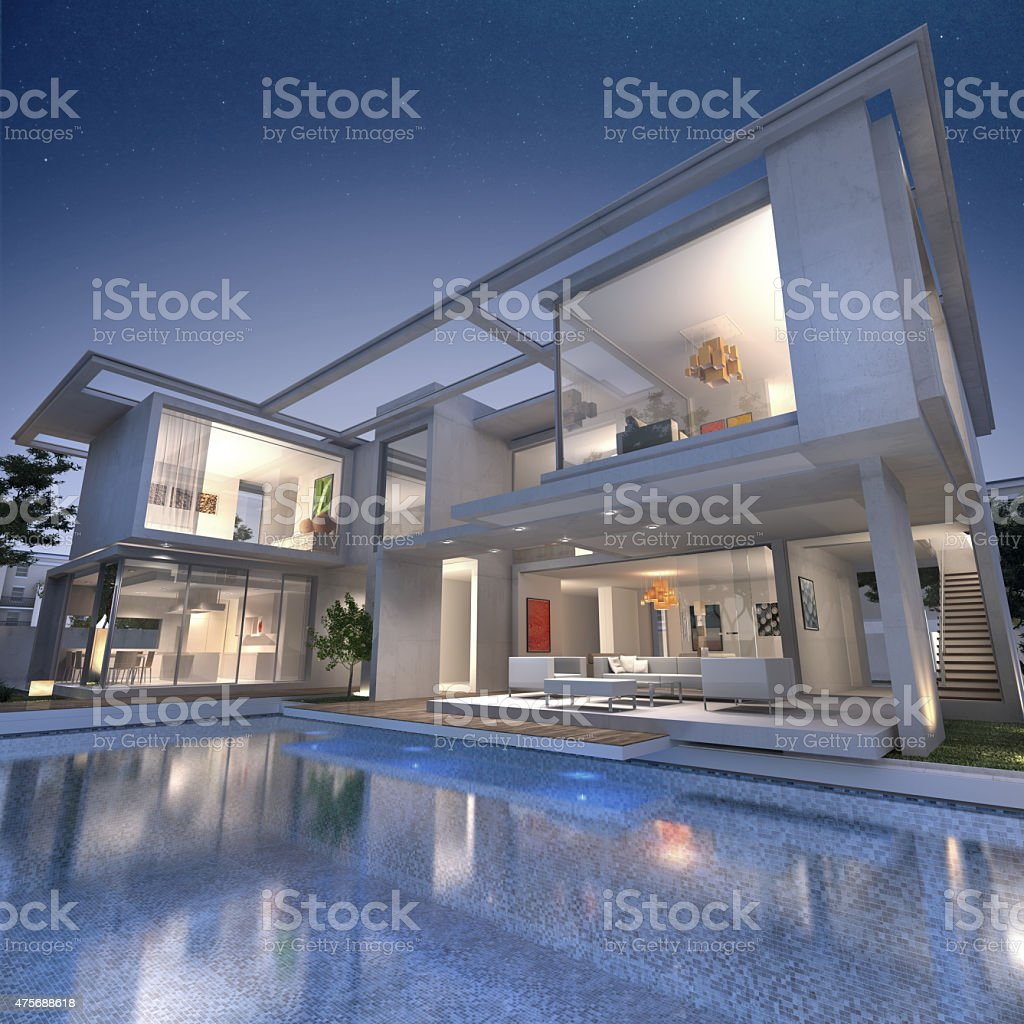 Dream designer villa stock photo