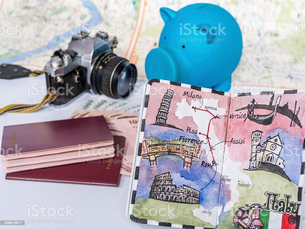 Dream destination sketch with piggy bank, passport book/  saving concept stock photo