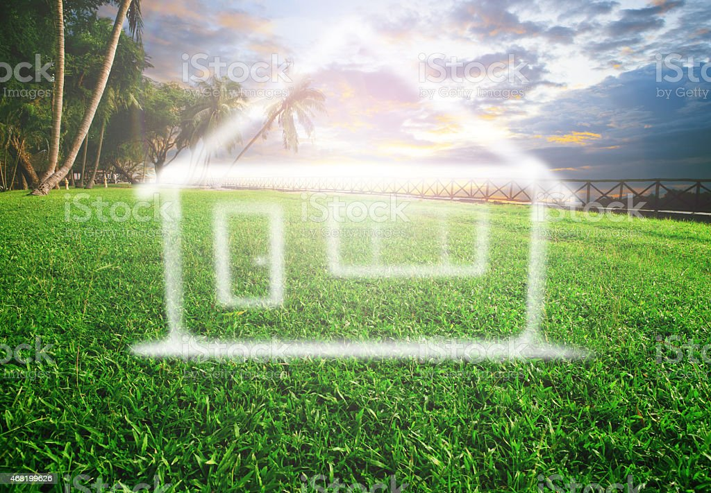 dream home on grass field stock photo