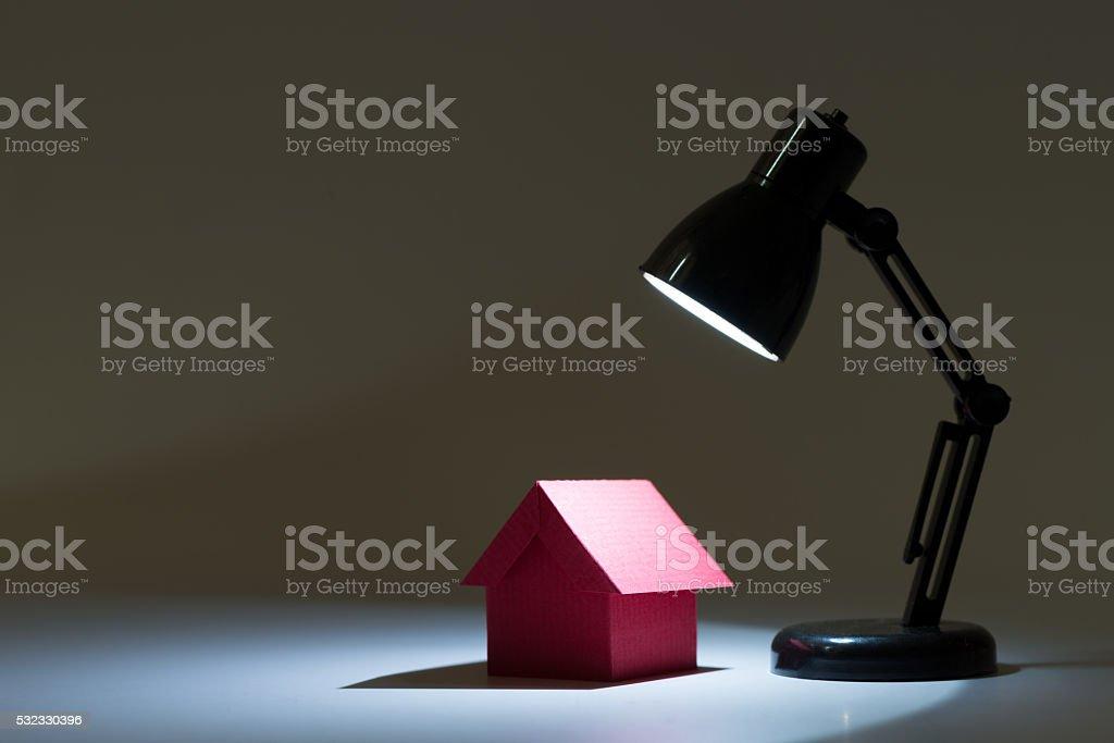 Dream house in spotlight stock photo