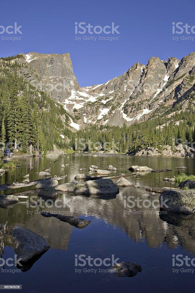 Dream Lake and Hallett Peak, Rocky Mountain National Park, Colorado stock photo