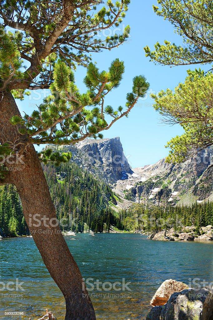 Dream Lake at the Rocky Mountain National Park, Colorado, USA. stock photo