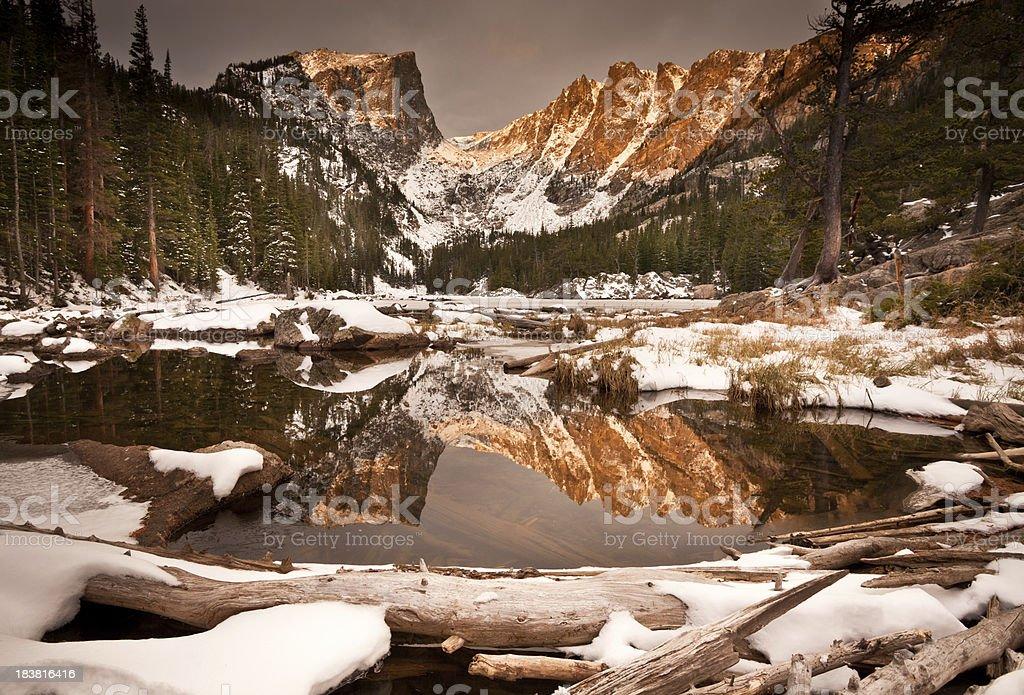 Dream Lake Sunrise on Snowy Hallet Peak stock photo