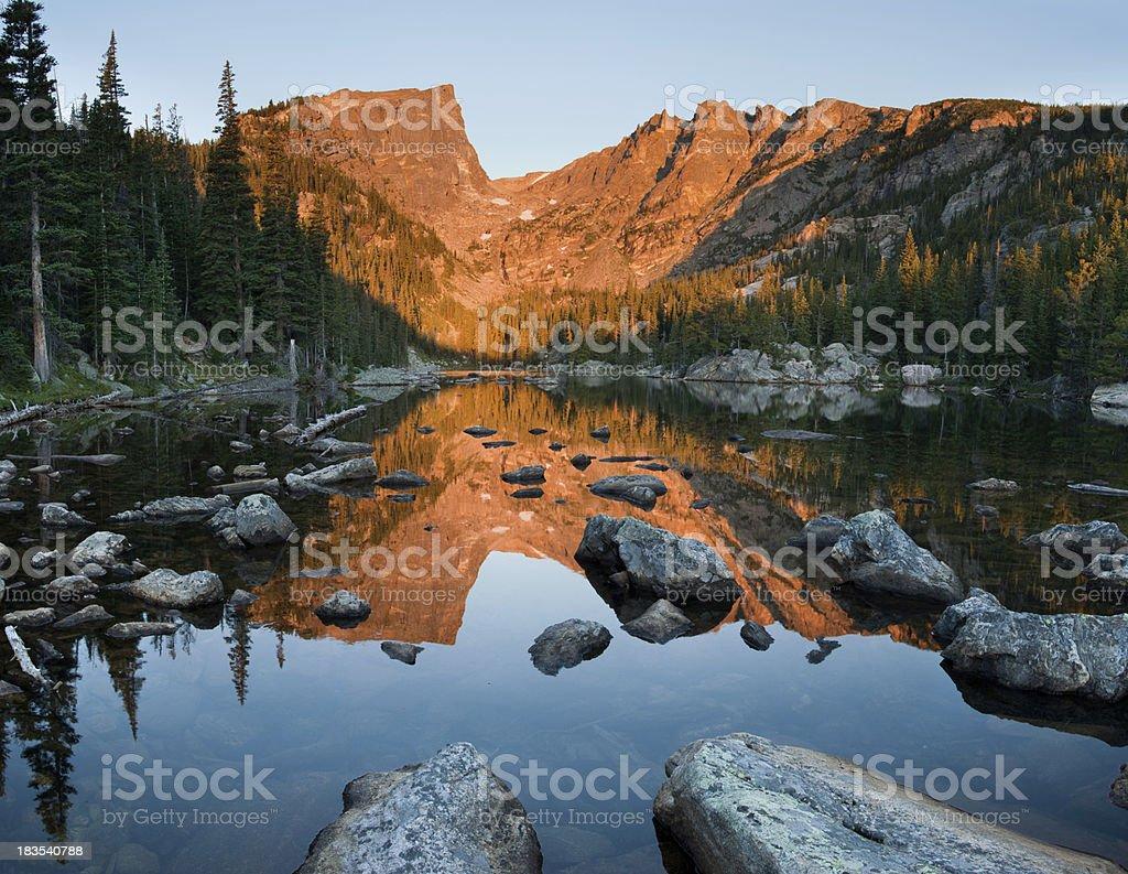 Dream Lake Sunrise Reflection of Hallet Peak stock photo