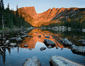 Dream Lake Sunrise Reflection of Hallet Peak