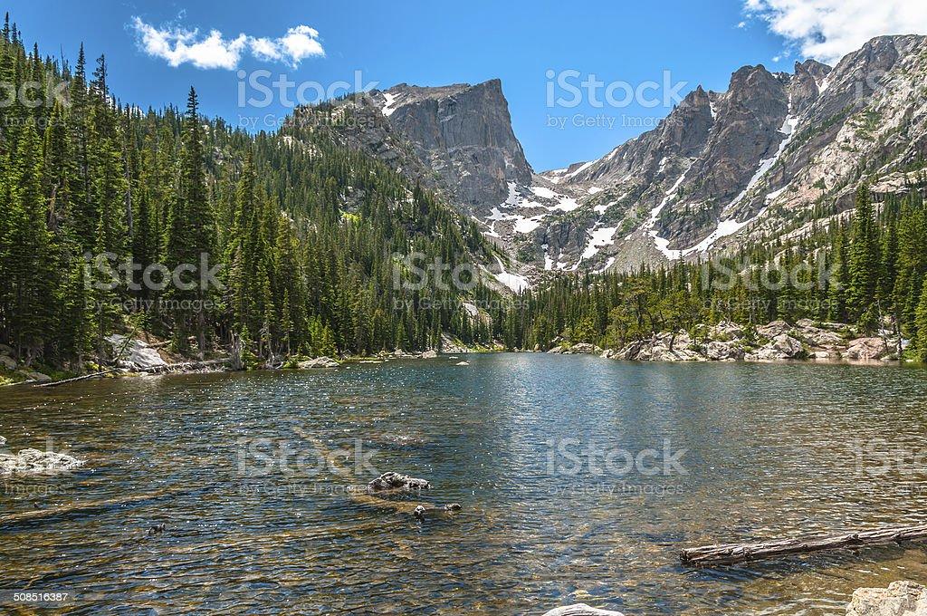 Dream Lake with Hallett Peak and Flattop Mountain stock photo