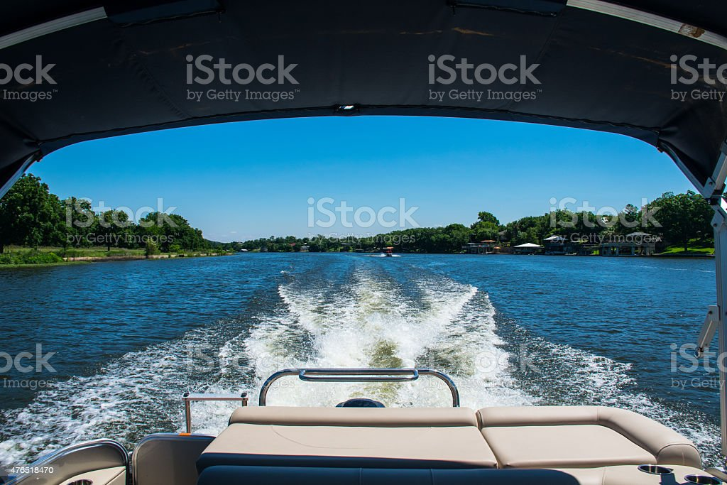 Dream Looking Back at Wake Driving on Lake Travis stock photo