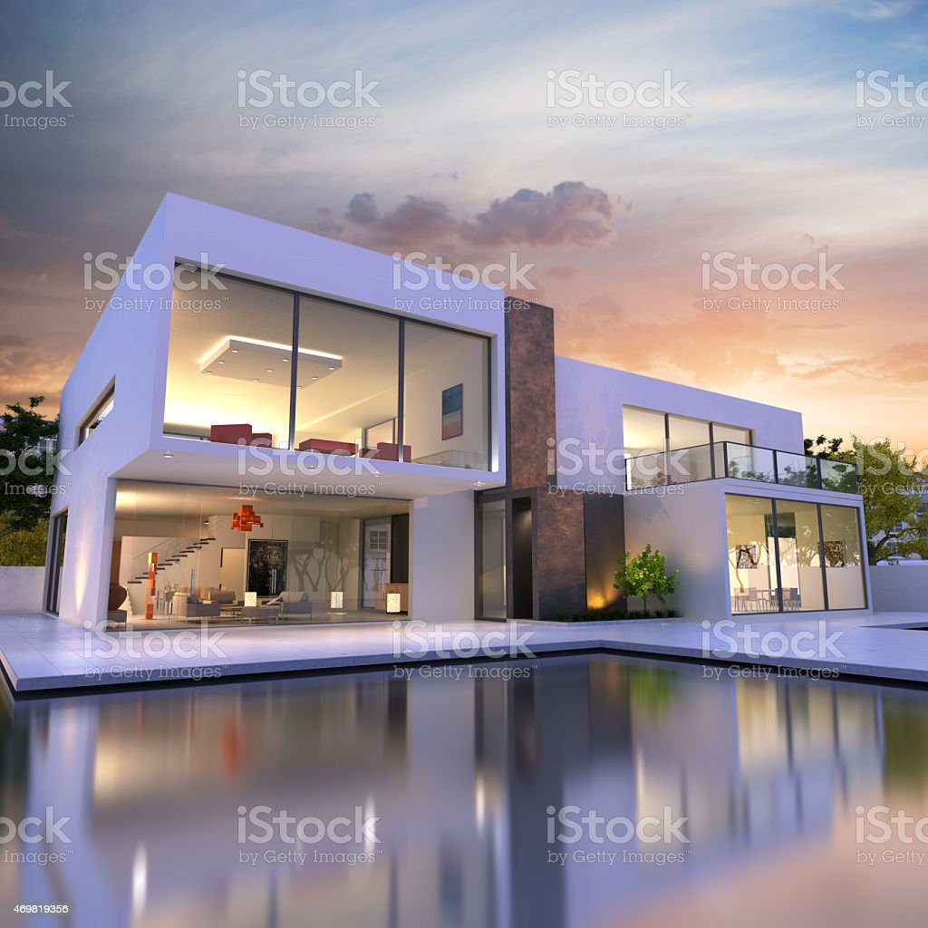 Dream mansion with pool stock photo