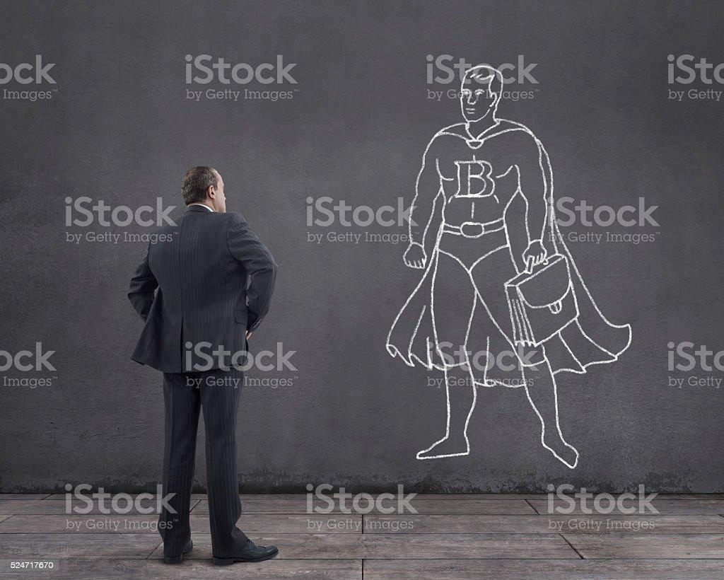 Dream of Businessman: Being Business Superhero stock photo