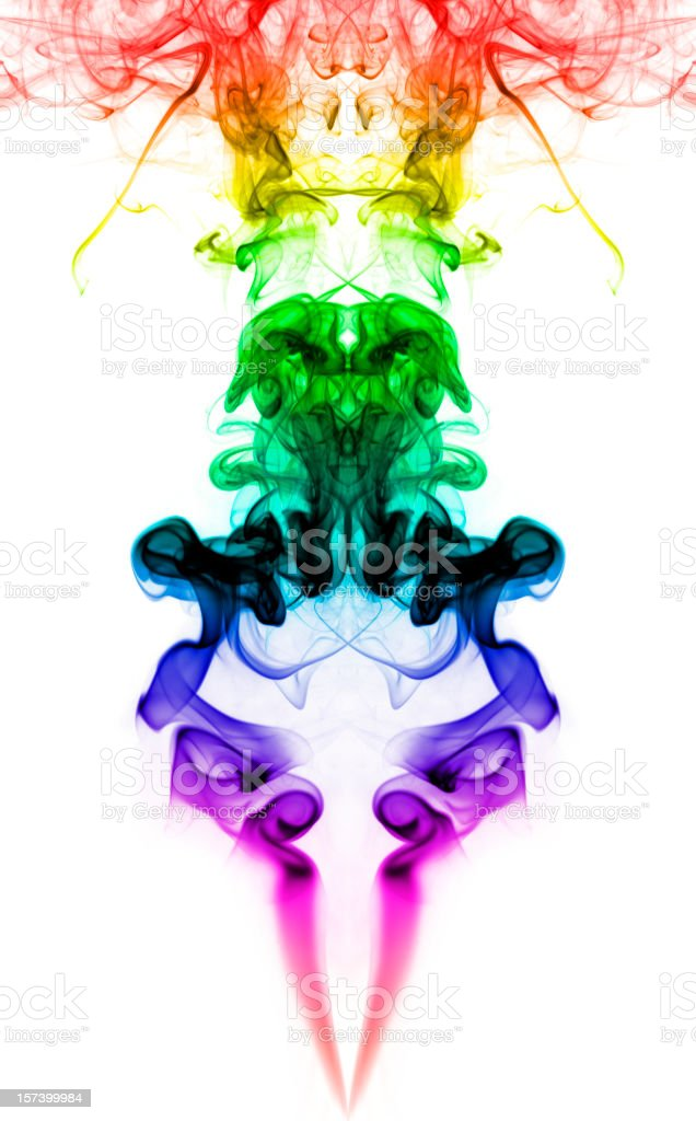Dream of the Green Ram; Colorful Psychedelic Smokey Hallucination stock photo
