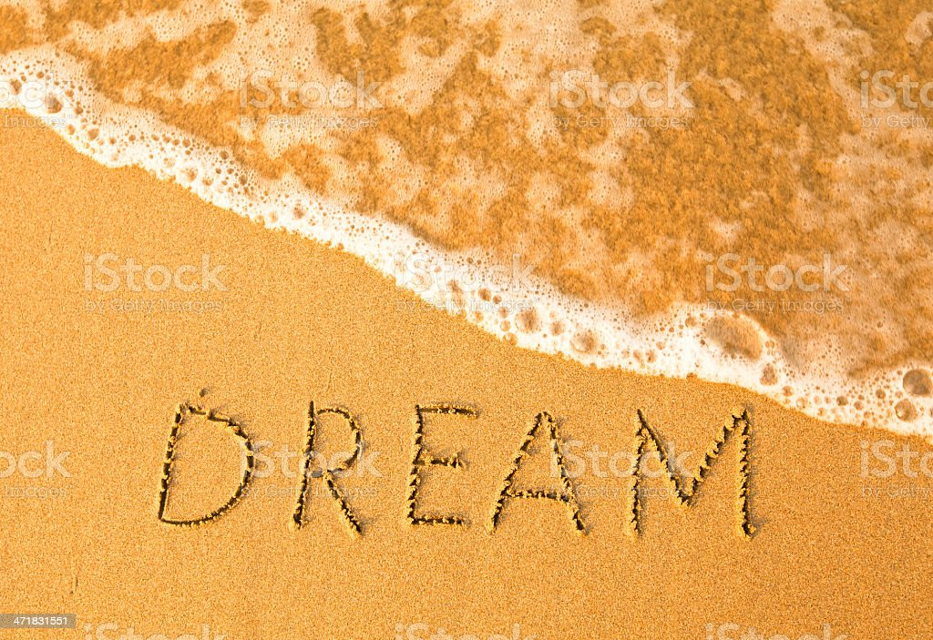 Dream, text written by hand in sand on a beach royalty-free stock photo