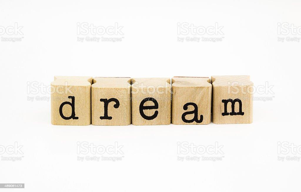Dream wording isolate on white background stock photo