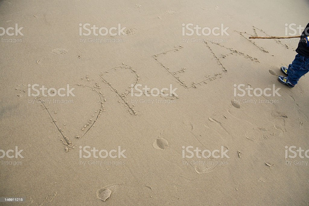 Dream Written In The Sand royalty-free stock photo