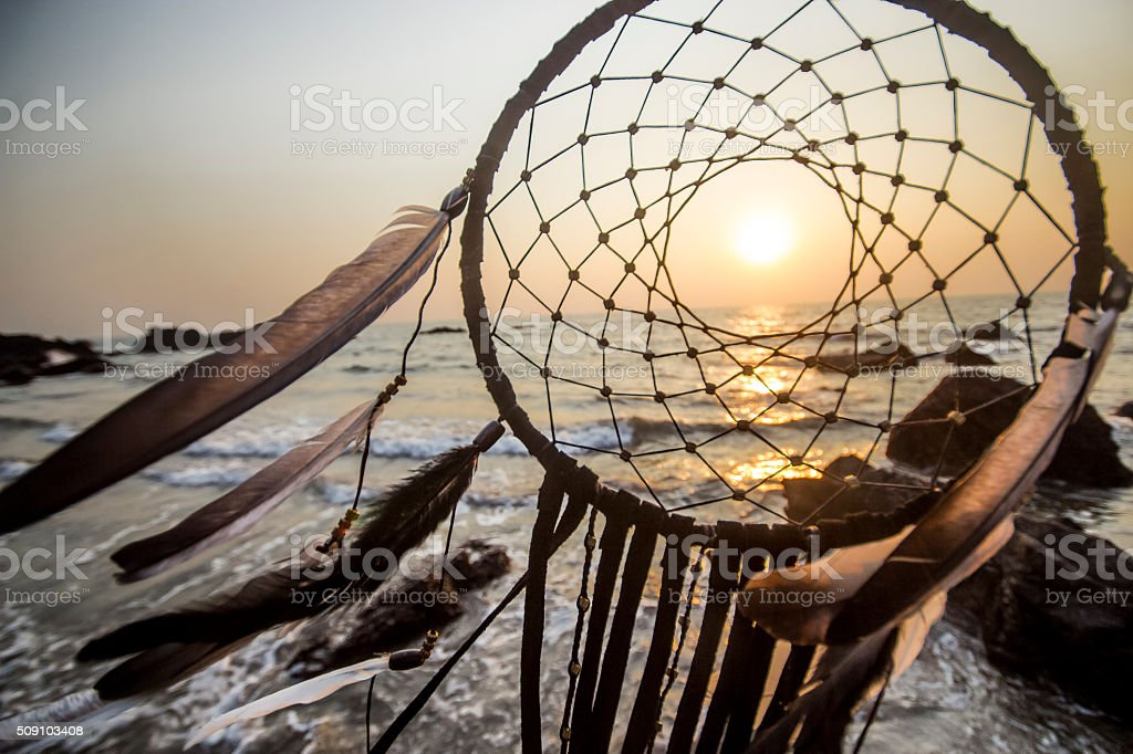 Dreamcatcher at sunset on the beach in India, Goa stock photo