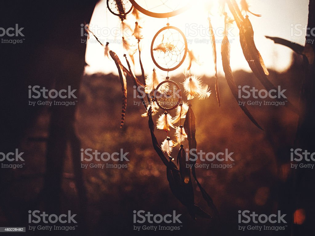 Dreamcatcher hanging in natural wilderness in afternoon sunlight stock photo