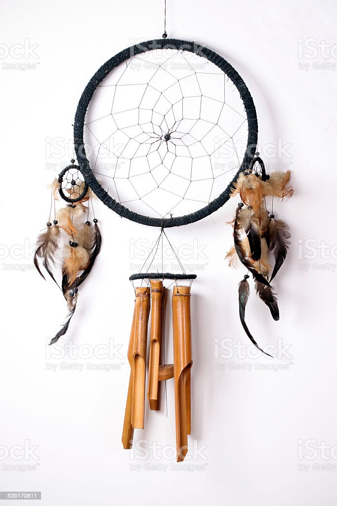 Dreamcatcher on wall stock photo