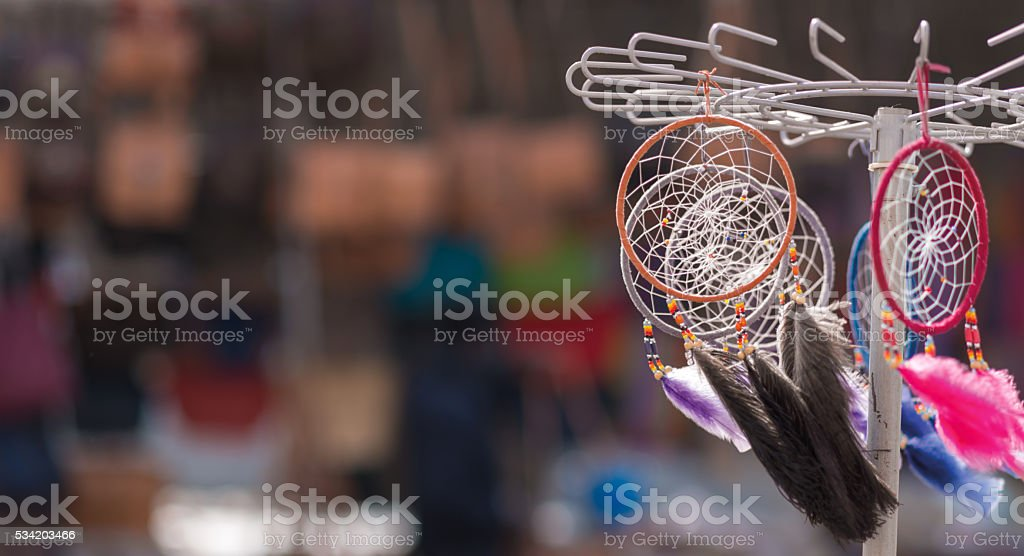 dreamcatchers in wind on a market stall stock photo