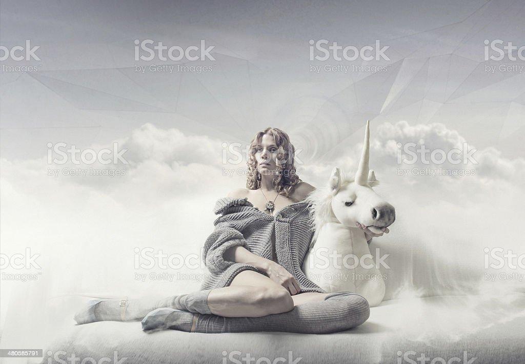 dreamer girl stock photo