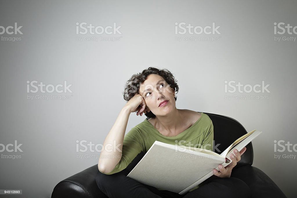 dreamful middle-aged woman royalty-free stock photo