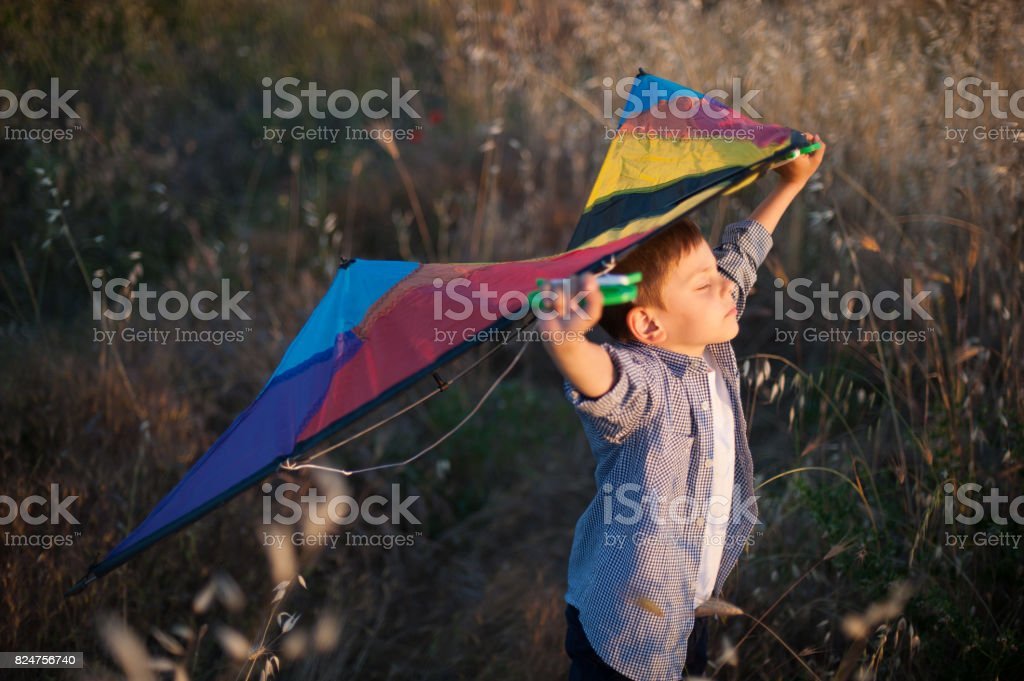 dreaming about flying little boy holding kite above head stock photo