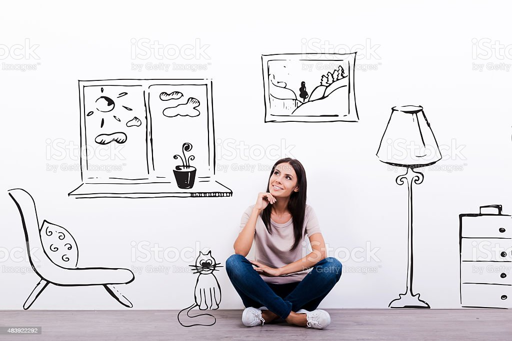 Dreaming about new house. stock photo