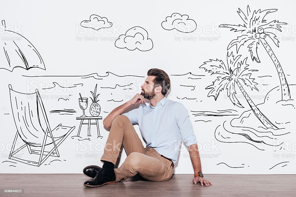 Dreaming about vacation. stock photo