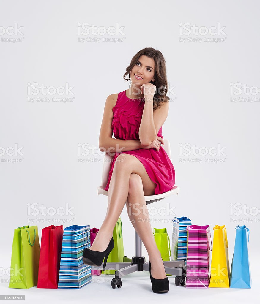 Dreaming beautiful shopper royalty-free stock photo