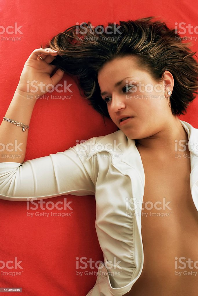 Dreaming in red royalty-free stock photo